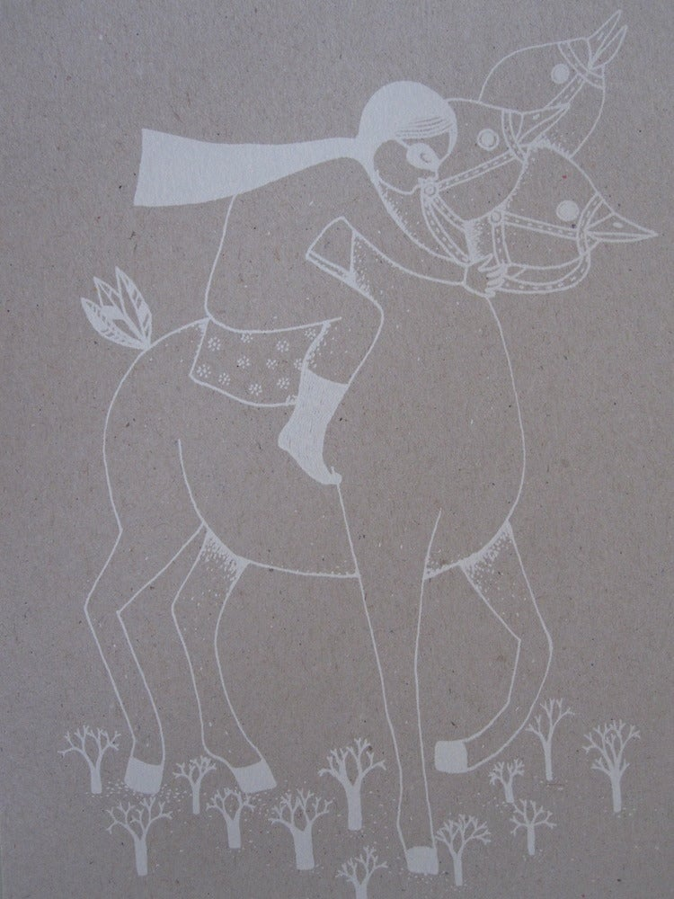 Image of Petite fille et son cheval a 3 tetes
