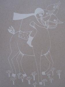 image de Petite fille et son cheval a 3 tetes
