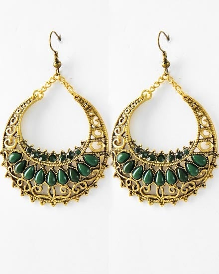 Image of Emerald Antique Circle Dangle Earrings