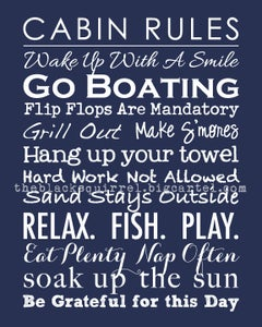 "Image of Cabin Rules - Subway Art Family Rules - 8""x10"" print"
