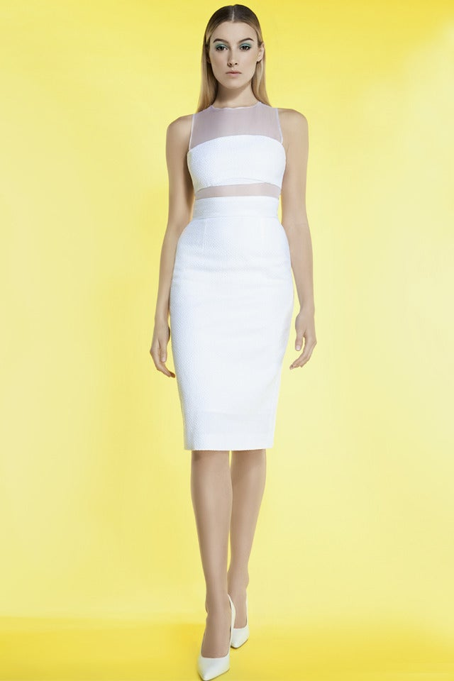 Image of FITTED TEXTURED DRESS WITH ORGANZA PANELS