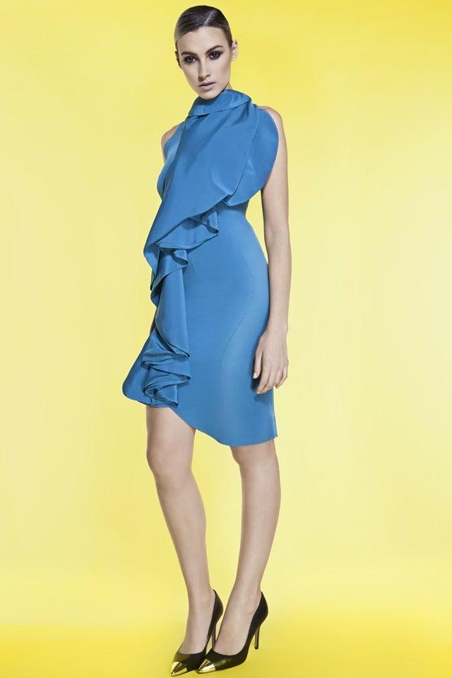 Image of RUFFLED SILK CREPE DRESS