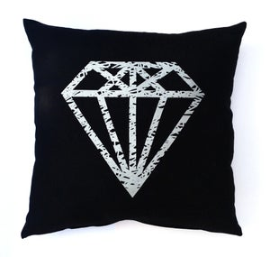 Image of LornaLove cushion : Diamond [metallic silver on black]