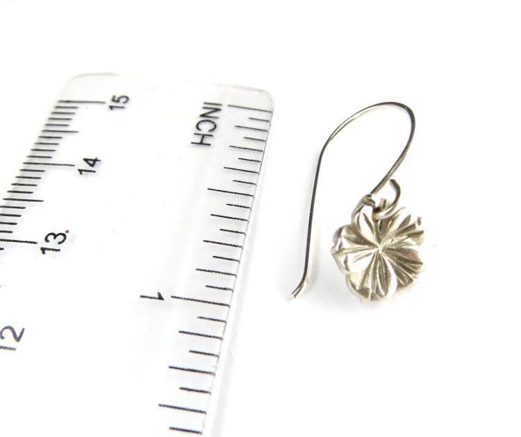 Image of Tiny silver hibiscus earrings