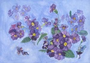 Image of Purple Primulas Flower Fairies Print