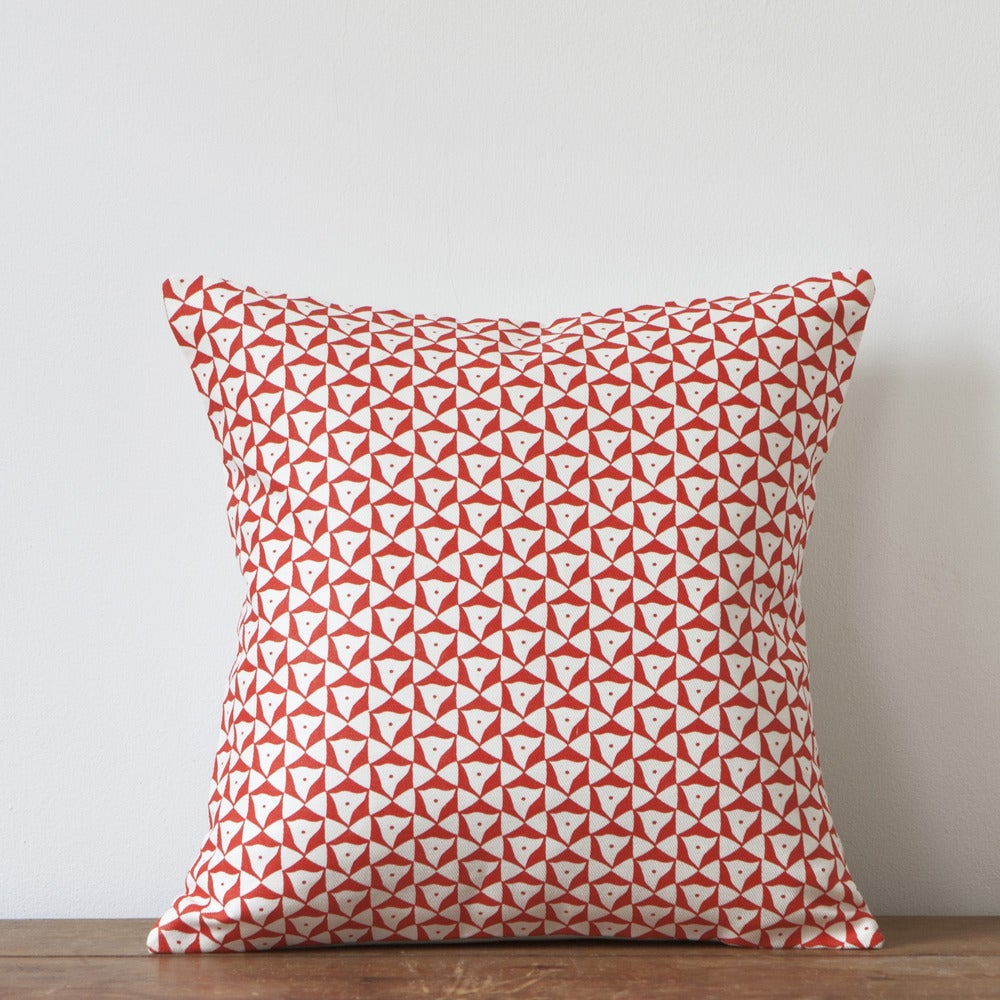 Image of Elements Print Cushion, Coral Colourway