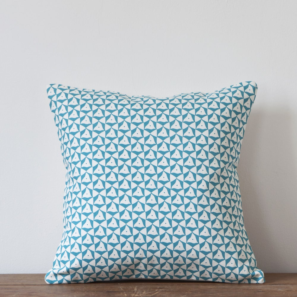 Image of Elements Print Cushion, Turquoise Colourway
