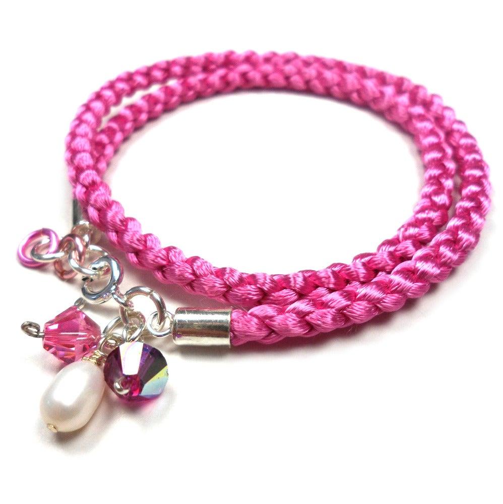 Image of Rosa, rosa/rødt eller r/h/b armbånd - braided bracelet in satincord