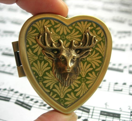 Image of Stag's Head miniature music box locket - green & gold