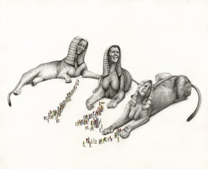 Image of 3 Sphinx Absorb The Grief Of The People- 43 x 33 cm- Limited Edition Giclee- Kirsty Whiten