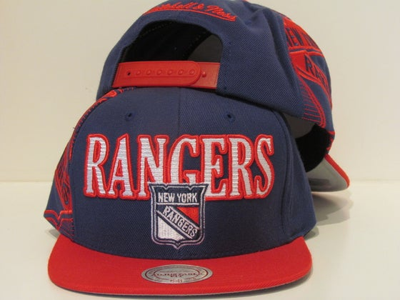 Image of NEW YORK RANGERS BLUE & RED LAZER MITCHELL & NESS SNAPBACK