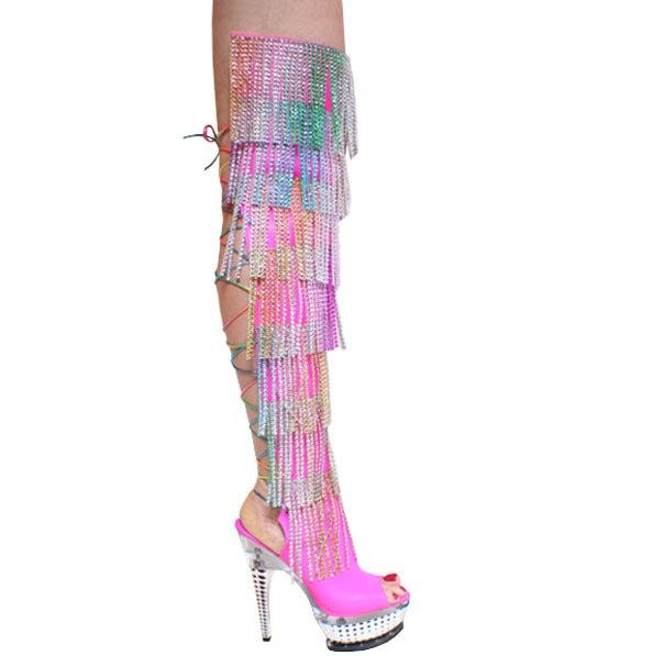 Image of karo fringe rhinestone thigh