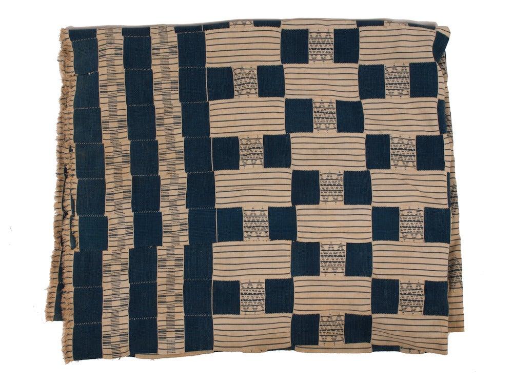 Image of Antique Textile - Blue & Cream