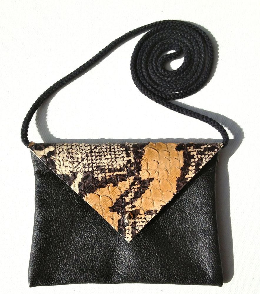 Image of Python Embossed Petit Leather Bag