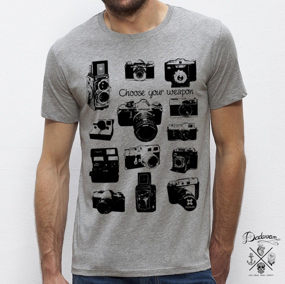 Image of T-shirt homme gris Vintage cameras - Choose your weapon by Dadawan