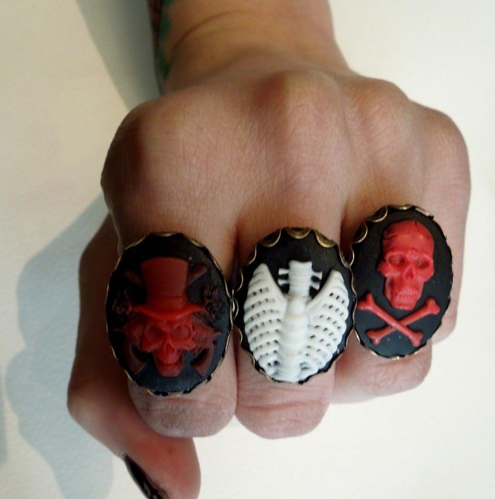 Image of Adjustable Skull Cameo Rings (unisex)