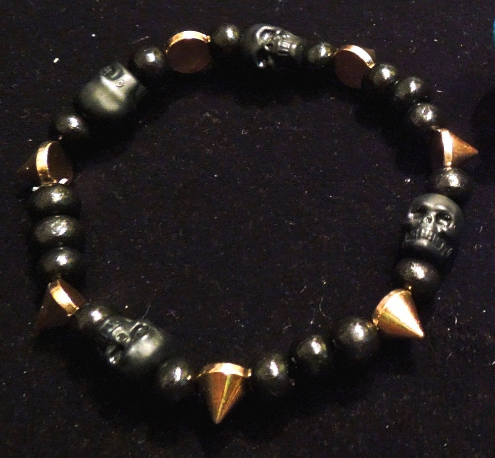 Image of Black Skulls & Spikes Bracelet