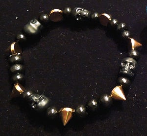 Image of Black Skulls & Spikes Bracelet