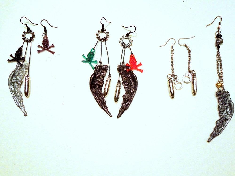 Image of Wings, Skulls & Bullets Earrings!