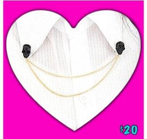 Image of Black Skull Brooch Collar Shirt Necklace
