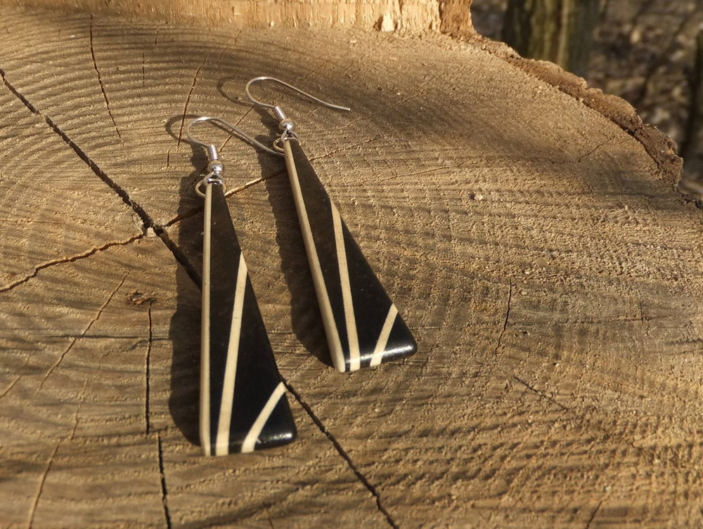 Image of Deco Inspired Earrings - Ebony and Holly