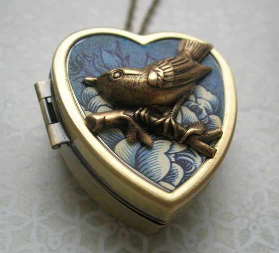 Image of Little Wing Miniature Music Box Locket sea flower blue
