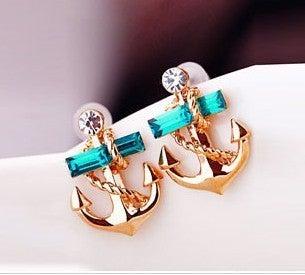 Image of Fashion Rhinestone Anchor Earrings
