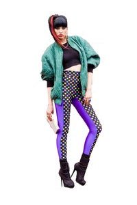 Image of High Waisted NICO Leggings in RAINBOW POLKA DOT & PURPLE