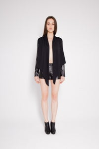 Image of Eco-leather sleeves blouse