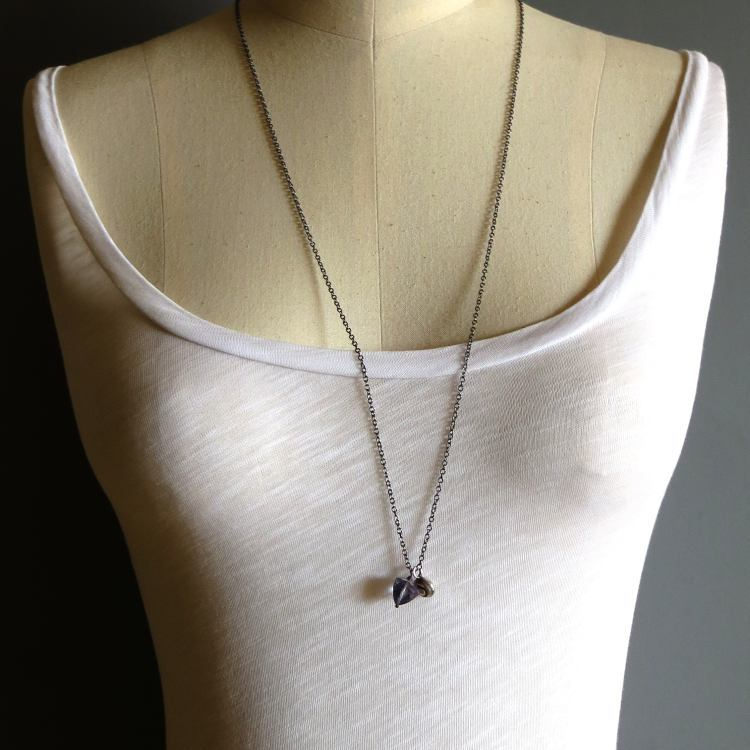 Image of Moamoa - Silver nautilus and quartz triangle long necklace