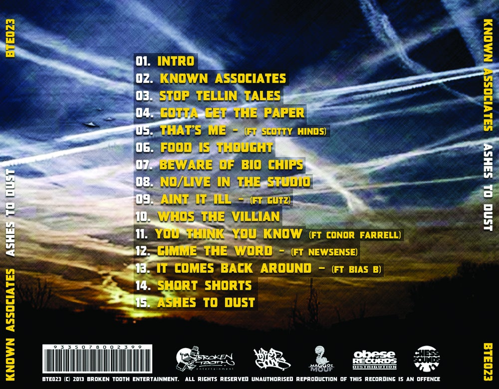Image of BTE023 - KNOWN ASSOCIATES - Ashes To Dust