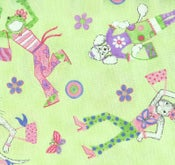 Image of Kelly Rightsell Green Fasion Friends Decorator Fabric 1 yds
