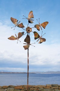 Image of Kinetic Art Sculpture Wind Spinner | Butterfly Wings Garden Stake