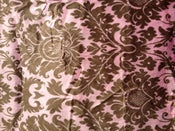 Image of Pink and Mocha Damask Minky Fabric 30'' x 36''