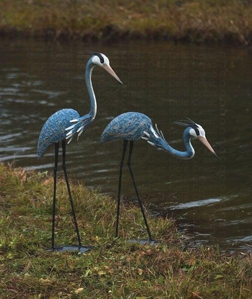 Image of Blue Herons Steel Sculptures | Set of 2