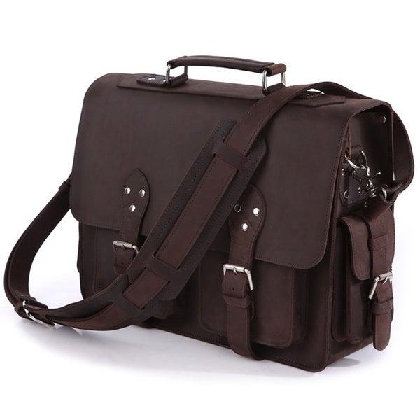 Image of Vintage Handmade Crazy Horse Leather Briefcase / Satchel / Travel Bag / Messenger Bag (n92)