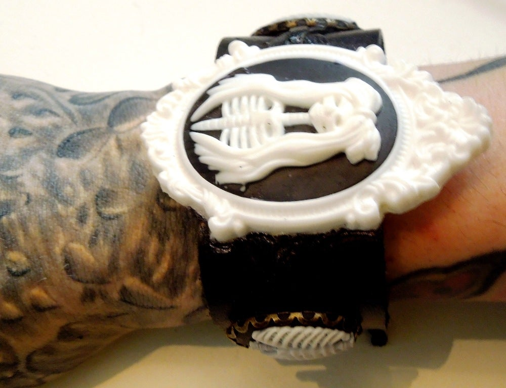 Image of White & Black Lady of Death Leather Cuff