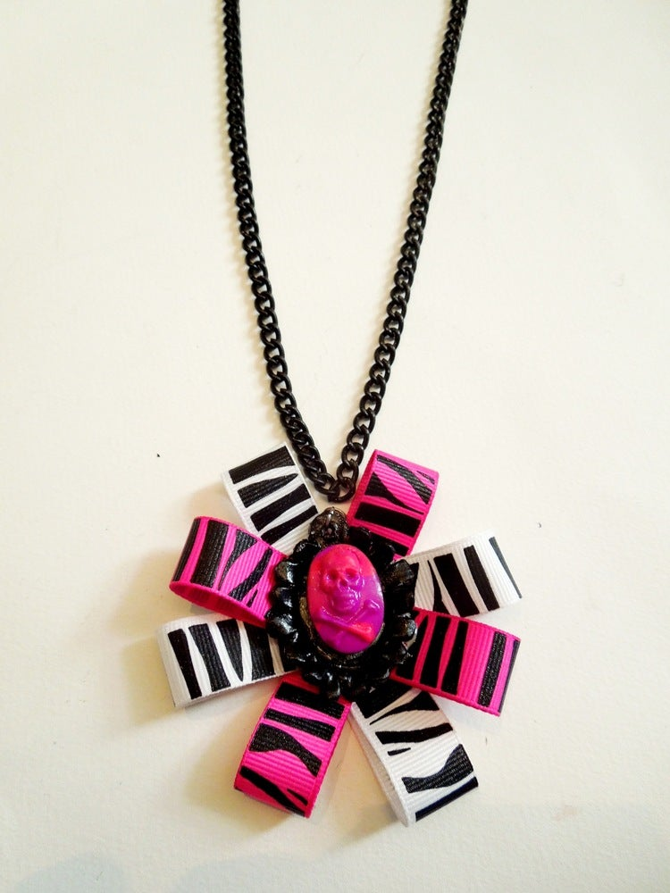 Image of Pink Zebra Bow & Skull Necklace