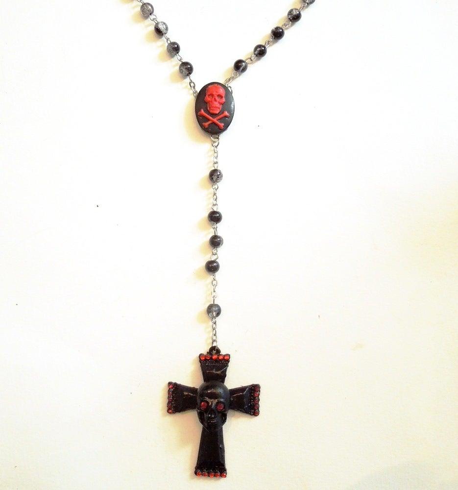 Image of Black & Red Skull Cross Rosary