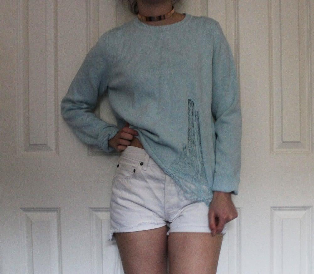 Image of Vintage Mint Shredded jumper size s/m
