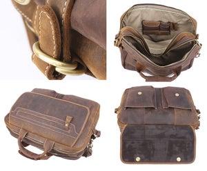 """Image of Men's Handmade Vintage Leather Briefcase / Messenger / 15"""" MacBook 14"""" Laptop Bag / Travel Bag (n11)"""