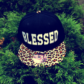 """Image of """"Blessed"""" Cheetah Print Snap Back"""