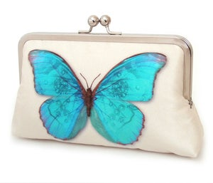 Blue butterfly clutch bag, printed silk purse - Red Ruby Rose