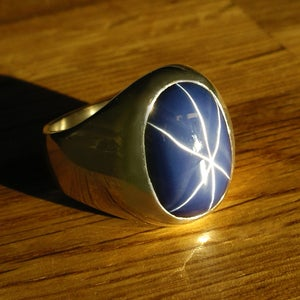 Image of Mens Classic Gypsy Mount with Oval Blue Star Sapphire in Heavy Sterling Silver