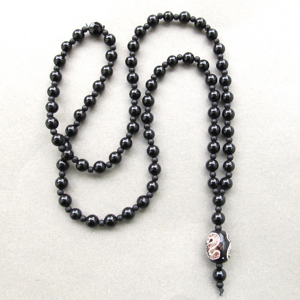 Image of Black Agate Beaded Necklace With Decorative Stone Bead