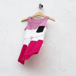Image of COLOUR BLOCK DRESS WITH BELT