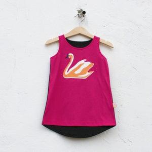 Image of SWAN PRINT DRESS FUCHSIA