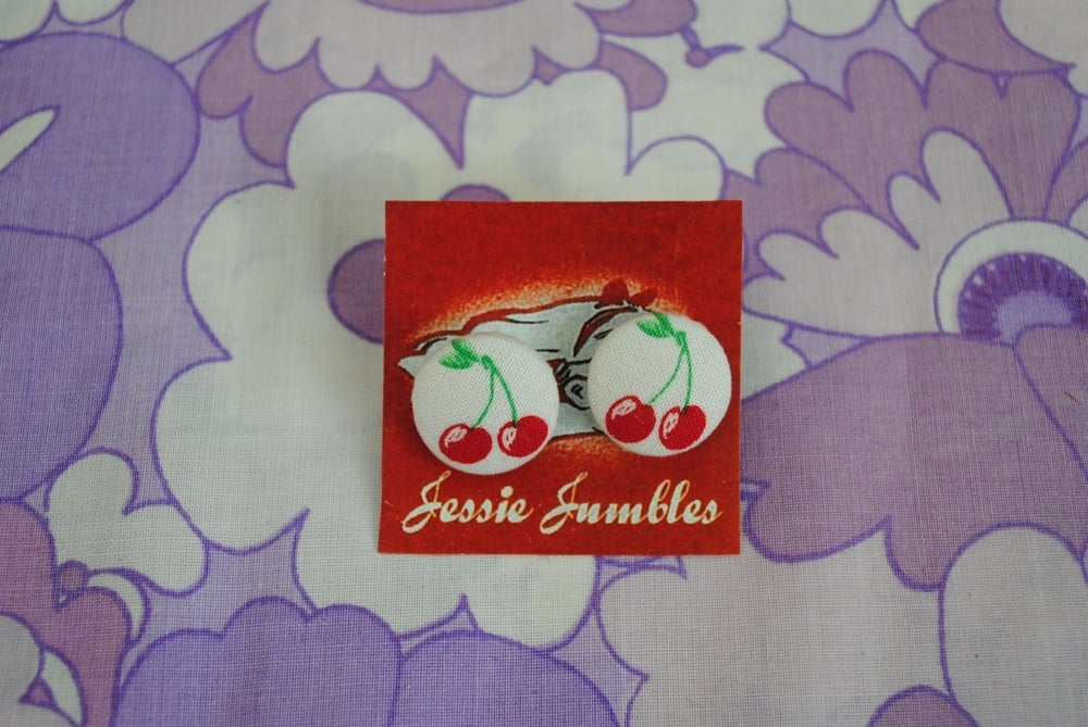 Image of Retro Cherry Button Earrings