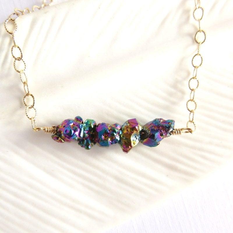 Image of Kauluwela Nuggets - Titanium quartz necklace