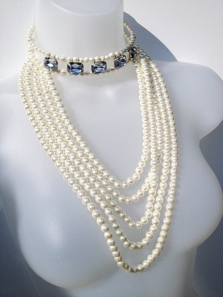 Image of Limited Edition Pearl & Gem Choker Necklace